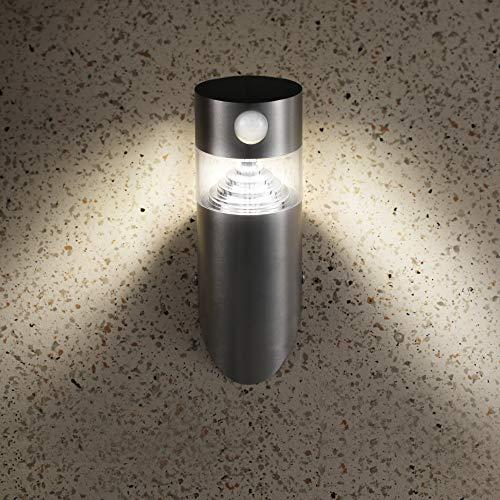 NBHANYUAN Lighting Solar Wandlampe Aussen mit Bewegungssensor Dimmbar LED Außenleuchte Automatisch Eingestellte Beleuchtung Solarleuchten Schwarz Edelstahl 4000K Warmweiß Licht Stil 1