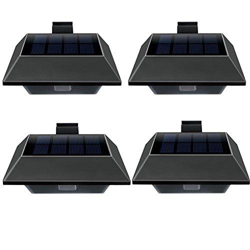 Uniquefire Schwarz Solarlampe 12 LEDs Dachrinnen Außenlampe Leuchte Wandlampe Solar Warmweiße Licht fGarten Terrasse Fahrtweg Höfe Traufen 4 STK
