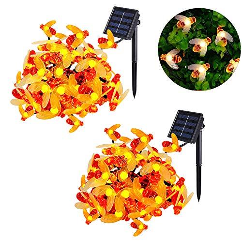 2 Stück Solar Bienen Lichterkette MrTwinklelight 30 LED Lichterkette Außen Wasserdichte Warmweiß lichterkette Dekorative für Garten Party Hochzeit Haus Fest Deko Beleuchtung Warmes Weiß