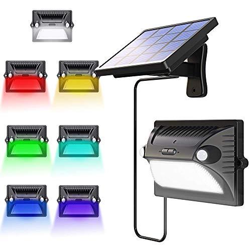 Bovon Solarlampe Garten Solarleuchten Außen mit Bewegungsmelder 180° Weitwinkel Solar Beleuchtung Verstellbares Solarpanel 200LM 12 LED Solarbetriebene Wandleuchte für Garage VerandaSchwarz