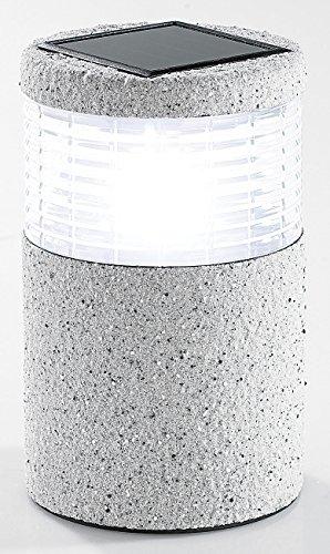 Lunartec Solarleuchten Garten Mini-Solar-LED-Gartenleuchte Grey Stone mit Lichtsensor 19 cm hoch Gartenbeleuchtung LED Solar