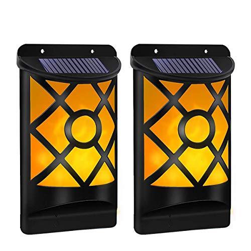 B-right LED Solarleuchte für Außen 2er Pack Solar Wandleuchte mit Flackernd Tanzen Flamme Solarlampen für Außen mit IP65 Wasserdicht Ideal für Flur Wand Garten Hof Party Fest Weihnachten
