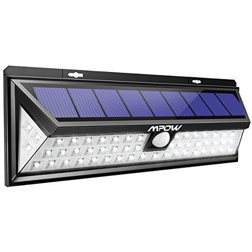 Mpow 54 LED Solarleuchte Außen Wasserdichte Solarbetriebene Lampe mit 120° Weitwinkel Bewegungsmelder Solarlicht für Garten Terrasse Auffahrt Pfad Hof Balkon