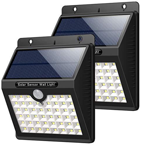 Solarleuchte für Außen 2 Stück HETP 46 LED Solarlampe Superhelle Solarleuchte Garten mit Bewegungsmelder Sicherheitswandleuchte Wandleuchte 3 Modi 1800mAh Wasserdichte Solarleuchten Garten