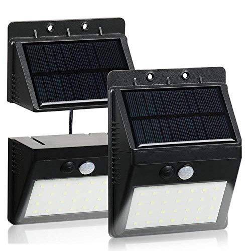 2 Stück Solarleuchten 28 LED für Aussen bewegungsmelder SuperhelleTrennbarer Solar Panel3 Modi Solarleuchte für IndoorOutdoor Wasserdichte Solar Leuchte für LagerPatioDeckBalkonHofAußenwand
