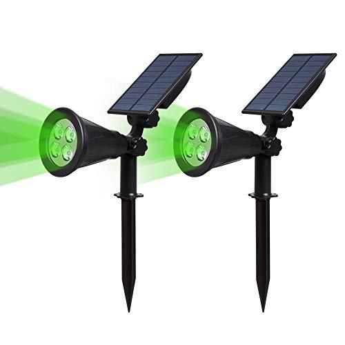 2 Stück T-SUN 4 LED Solarleuchten Outdoor Wandleuchte 4 LED Helle Garten-Licht 2 Beleuchtungsmodi SicherheitsbeleuchtungGroßes Außenlicht für Rasen Wege Auffahrt Terrasse Grün