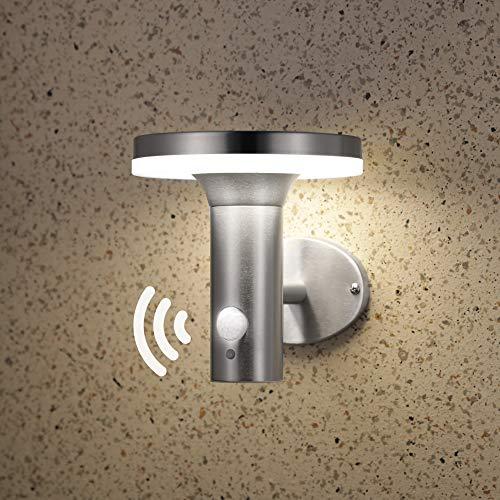 NBHANYUAN Lighting LED Solar Wandbeleuchtung mit Bewegungsmelder PIR Outdoor Edelstahl SolarleuchtenWandlampe für Garten 3 Modi für Vielfältige Nachfrage 4000K Warmweiß Licht IP44 Silber Stil 1