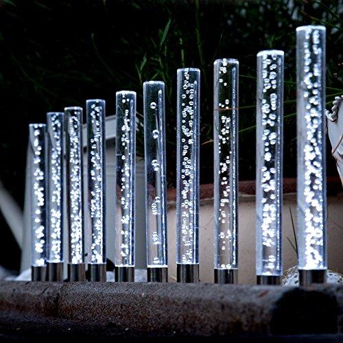 Edelstahl Acryl Solar LED Garten Sticks 10 er Set Solarleuchte mit extra großem Solarpanel und Dämmerungssensor Leuchte Lampe Wegeleuchte Wegbeleuchtung Garten Terrasse
