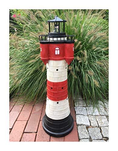 Garten Deko Figur Solar Leuchtturm 80 cm mit LED Beleuchtung Modell Roter Sand  liebevoll hand gefertigte und Dekoration für Garten Terrasse oder Balkon  maritimes Flair für Ihren Außen Bereich