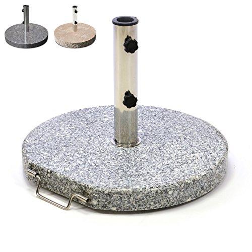 Nexos Schirmständer Sonnenschirmständer Granit poliert rund Ø 50cm Steindicke 5cm ca 25kg Edelstahlrohr Griff Rollen grau