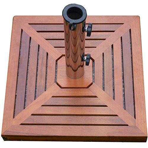Nexos Sonnenschirmständer – Ständer Sonnenschirm mit Holzverkleidung Reduzierhülsen – Edelstahl Granit Eckig 50 x 50cm 40kg – Grau Braun