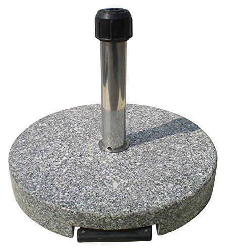 TrendLine Granit Sonnenschirmständer mit Rollen Schirmständer grau rund 50 cm
