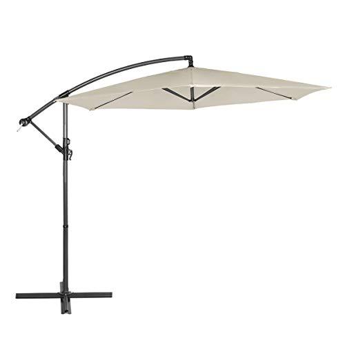 Sekey Ampelschirm 300 cm Sonnenschirm Gartenschirm Kurbelschirm BeigeTaupe mit Kurbelvorrichtung Sonnenschutz UV50