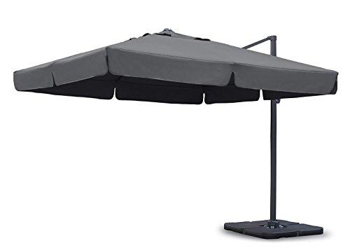 Sekey Sonnenschirm 300 x 300 cm Aluminium-Sonnenschirm Marktschirm Gartenschirm Terrassenschirm Ampelschirm Kurbelschirm Grau Quadratisch Sonnenschutz UV50 23kg