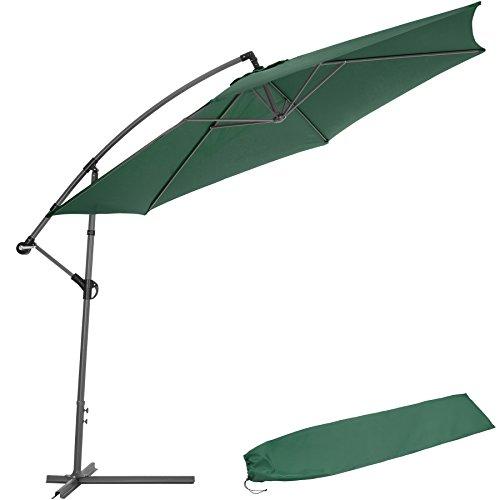TecTake Sonnenschirm Ampelschirm mit Metallgestell  UV Schutz 350cm  Schutzhülle - Diverse Farben - Grün  Nr 400623