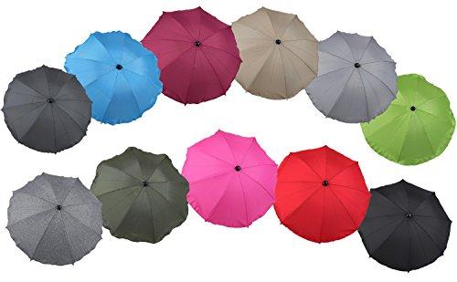 Clamaro SUNCOVER Universal Sonnenschirm Regenschirm für Kinderwagen und Sport Buggy 11 Farben Babywagen Schirm mit Universal Halterung mit 360° flexiblen Schwanenhals Leinen Grau 7