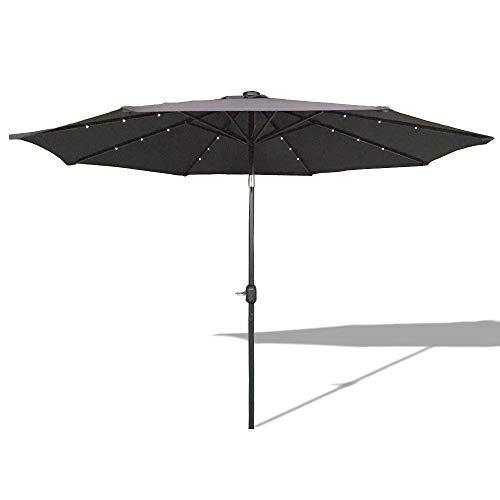 HENGMEI 300cm ALU Sonnenschirm Gartenschirm Terrassenschirm Marktschirm Ampelschirm Strandschirm Kurbelschirm mit UV Schutz 40 Solar LED 300cm Dunkelgrau