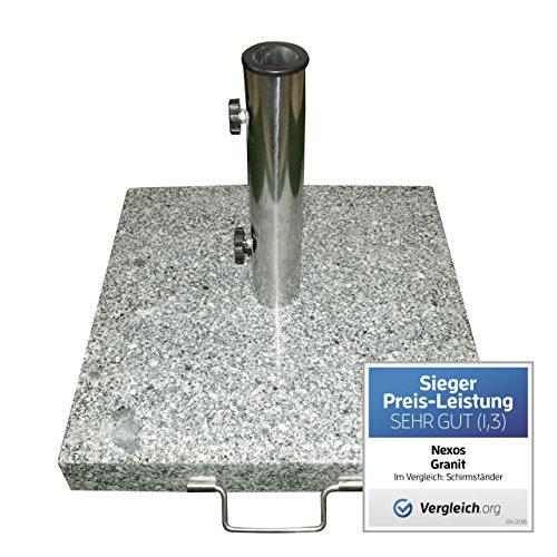 Nexos Schirmständer Sonnenschirmständer Granit eckig 45x45cm Steindicke 5cm ca 25kg Edelstahlrohr Griff Rollen grau