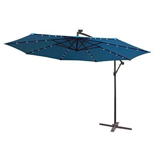 LARS360 Blau Ø350cm Aluminium Sonnenschirm mit Solar LED Warmweiß Marktschirm Balkonschirm Gartenschirm Ampelschirm Kurbelschirm Gartenschirm UV40 Schutz Blau mit Solar LED