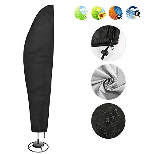 Nasharia Schutzhülle für Ampelschirm 210D Nylon Wasserdichtes Sonnenschirmhülle Abdeckhauben für Sonnenschirm für Schirm 2 bis 4 m Abdeckung mit Reißverschluss und Zugkordel Schirmhülle Schwarz