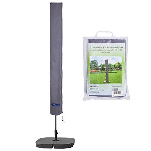 Schutzhülle für Sonnenschirm bis ca Ø 400cm Premium Qualität aus hochwertigem 300GSM 600D Oxford Material - Grau
