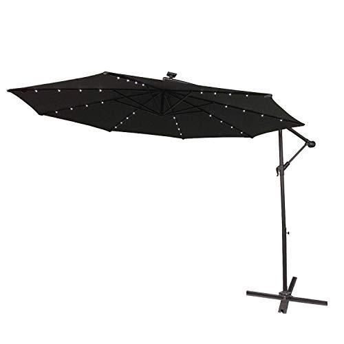 AUFUN Alu Sonnenschirme 350cm mit Solarbetriebene Warmweiß LED UV Schutz 40 - Dunkelgrau balkonschirm gartenschirm höhenverstellbarer Dunkelgrau mit solar LED