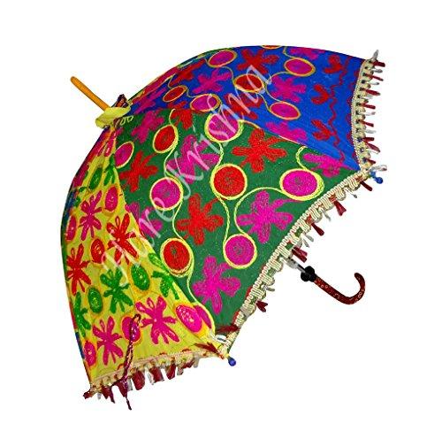 Indische Multi Designer Handgemachte Stickerei Sonnenschirm Damen Kleine Sonnenschirm 61 x 71 cm