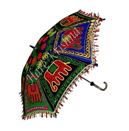 Indische Multi Handgemachte Stickerei Sonnenschirm Sonnenschirm 61 x 71 cm