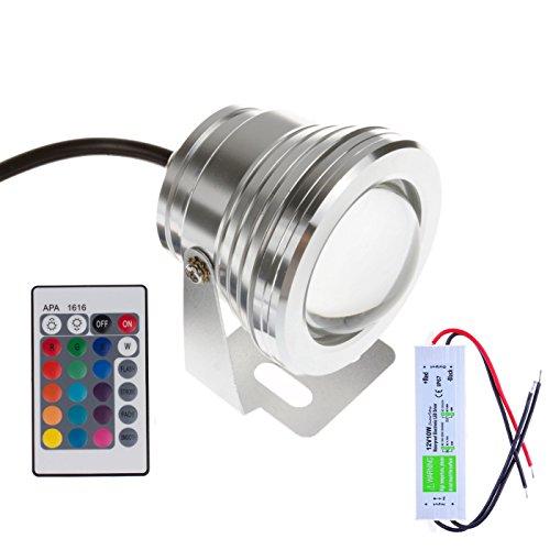 BLOOMWIN 12V 10W RGB Teichlampen IP67 Poolbeleuchtung Teichbeleuchtung Unterwasserbeleuchtung Led  24 Keys Fernbedienung