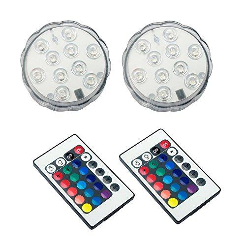 MAVIE 2er Pack RGB Unterwasser LED Licht Leuchte mit Fernbedienung LED Multi Farbe Wasserdichte Lampe Unterwasserbeleuchtung für HochzeitPartyWeihnachtenSchwimmbadAquarium Dekorationen 2 PACK