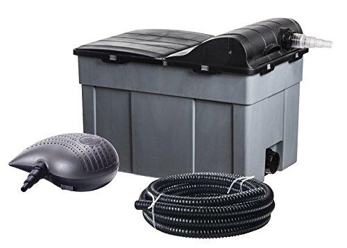 HEISSNER FPU16000-00 Mehrkammer-Teichfilter 60 x 40 cm mit integriertem 11 Watt UVC-Teichklärer  inklusiv Filterpumpe mit 10 mm Körnung