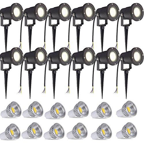 SAILUN 12 x 3W LED Gartenleuchte Rasen Licht mit Erdspieß Matt-Schwarz Warmweiß 85-265V wasserdicht IP65 für den Außenbereich Garten Teich Park Landschaft