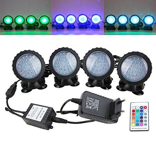 SENZEAL Teich beleuchtet RGB-Farbe IP68 imprägniern 36 LED-Scheinwerferlicht mit Fernbedienung für Gartenteich-Brunnen-Beleuchtung EUR Stecker