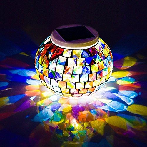 Mosaik Glas Ball Garten solarlampen Lichter schreibtischlampe Avril Tian Farbwechsel Solar Night Lights wasserdicht wiederaufladbarer Solar Tisch Lichter Lampe für Innen-Dekorationen