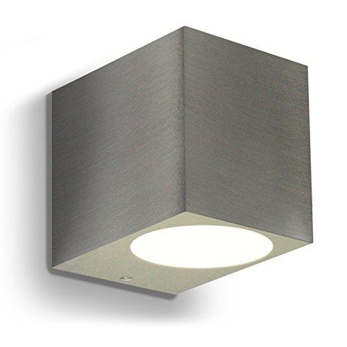 LED Wandleuchte  Wandlampe Außenleuchte Up Down 1-Flammig Aluminium Edelstahl geb FormJ IP44 GU10-230V Warmweiß