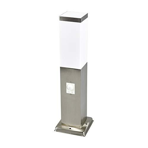 Lampenwelt AußenleuchteLorian mit Bewegungsmelder spritzwassergeschützt Modern in Alu aus Edelstahl 1 flammig E27 A  Wegeleuchte Pollerleuchte Wegelampe Sockelleuchte