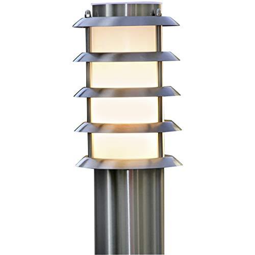 Lampenwelt AußenleuchteSelina spritzwassergeschützt Modern in Alu aus Edelstahl 1 flammig E27 A  Wegeleuchte Pollerleuchte Wegelampe Sockelleuchte