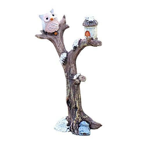 LAMEIDA Miniatur Fairy Garden Eule auf Baum Ornament Puppenhaus Blumentopf Figur DIY Craft für Garten Outdoor Home Decor Kunstharz Grau 51  86cm