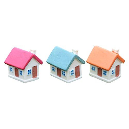 Zhuhaixmy 3 x DIY Garten Miniatur Bunte Haus Figur Handwerk Mikro Landschaft Dekor C39