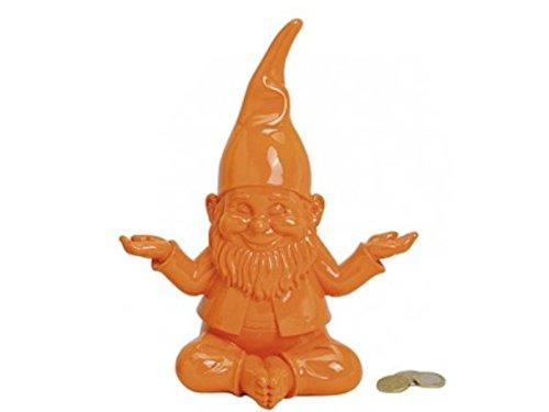Spardose - Yoga Zwerg - Gartenzwerg Deko - b22h27t13cm - verschiedene Farben Orange