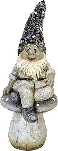 Gartenfigur Zwerg sitzt auf Pilz - Garten Figur Zwerg