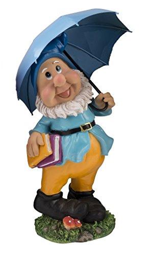 Großer Gartenzwerg mit blauem Schirm und Mütze 385 cm bunte Zwerg Figur für Haus und Garten Gnom Schirm Blau