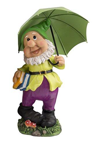 Großer Gartenzwerg mit dunkelgrünem Schirm und Mütze 385 cm bunte Zwerg Figur für Haus und Garten Gnom Schirm Grün Dunkelgrün