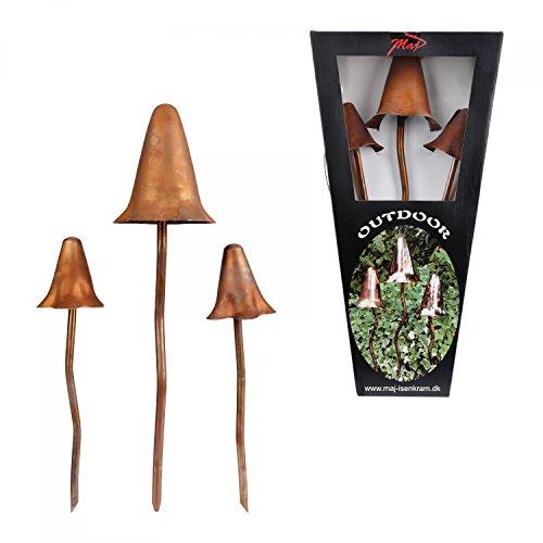 3-tlg Set Deko-Pilze matt-bronze Outdoor-Skulptur  Deko für Garten Teich Terrasse Blumen-Beet Grünanlagen