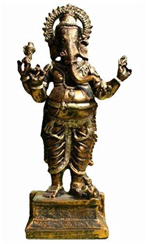 Große Ganesha Skulptur in goldener Bronze Optik