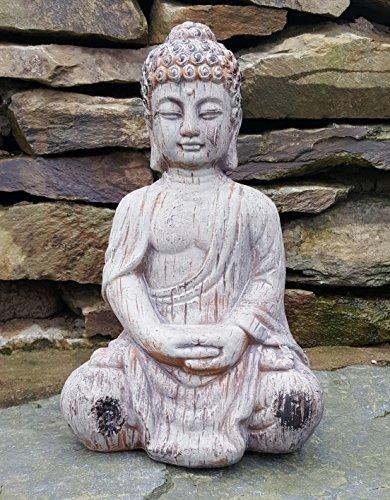 Sitzender Buddha Keramik Drift Holz Effekt Garten Outdoor Innen Statue Ornament