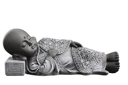 Tiefes Kunsthandwerk Buddha Figur liegend aus Stein - Schiefergrau Statue frostsicher und wetterbeständig für Haus und Garten