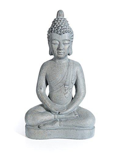 myGardenlust Buddah - Gartenfigur - Deko-Figur sitzender Buddha - Wetterfest für Indoor und Outdoor - Stein-Statue für Den Garten Grau  30x52