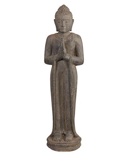 Betende Buddhafigur Steinguss  stehender Steinbuddha 100cm Steinfigur  Skulptur für Haus und Garten