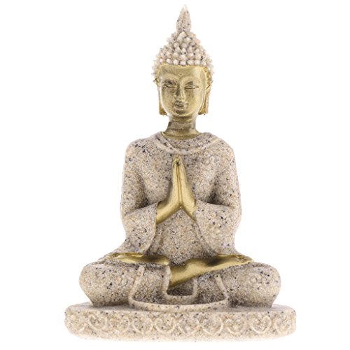 Fenteer Steinfigur Sandstein Buddha Statue Skulptur Figur Dekofigur Gartenfigur